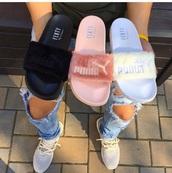 shoes,sandals,socks and sandals,slippers,puma,slide shoes,rihanna,puma slides