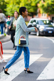 coat,fashion week street style,fashion week 2016,fashion week,milan fashion week 2016,blue coat,light blue,baby blue,denim,jeans,blue jeans,bag,multicolor,mules,black shoes,shoes,streetstyle,fall outfits,earrings