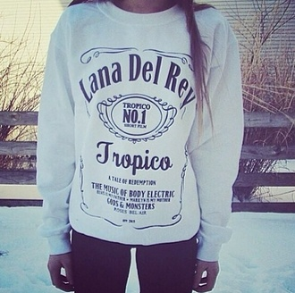 shirt t-shirt lana del rey cute black white sweatshirt alcohol jack daniel's sweater