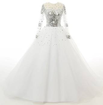 Livresse Womens Long Sleeves Crystals Tulle Ball Gowns Wedding Dress