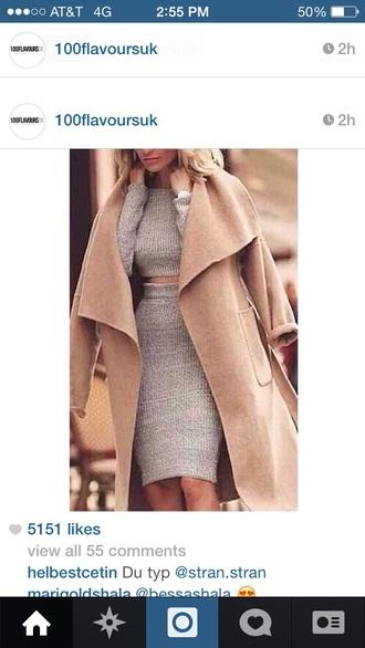 gray skirt beige jacket beige high heels grey sweater cropped sweater gray skirts sweater