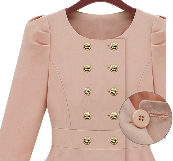 Pink Long Sleeve Double Breasted Flare Hem Wool Coat - Sheinside.com
