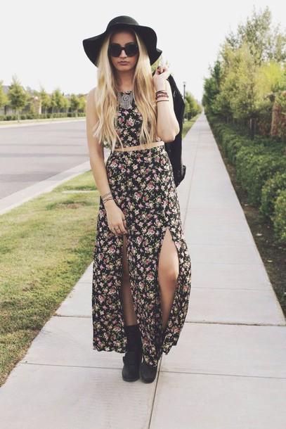 skirt maxi skirt floral blouse