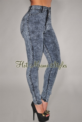 Dark Acid Wash Denim Skinny Jeans