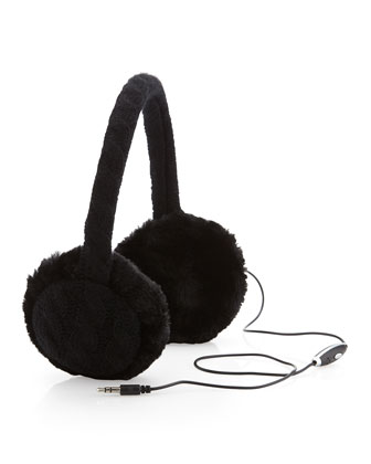 Neiman Marcus Chunky Cable Knit Headphone Earmuffs, Black - Neiman Marcus Last Call