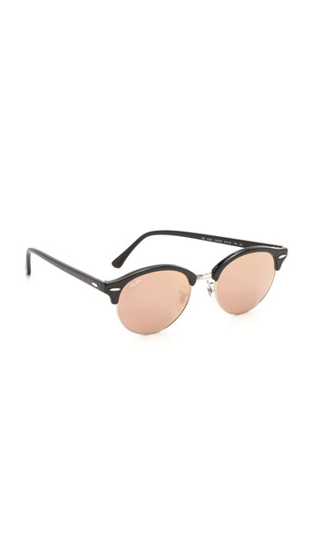 Ray-Ban Round Clubmaster Sunglasses - Black/Brown Mirror Pink