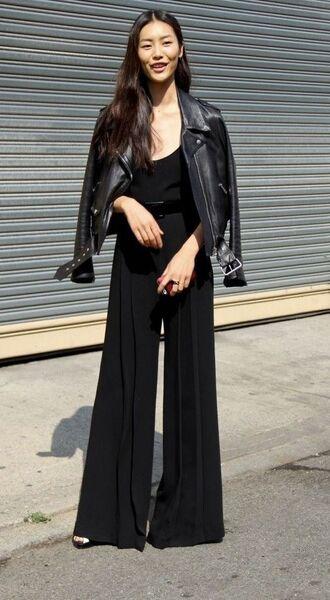 pants black top black pleated pants leather jacket blogger