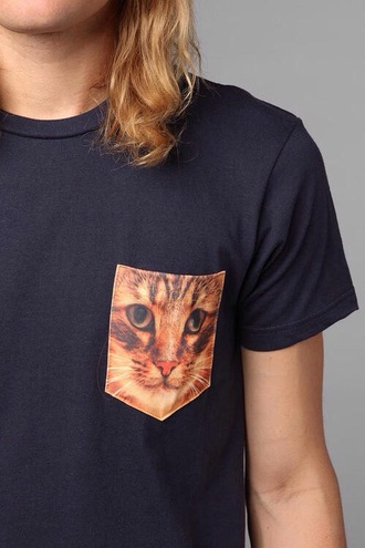 t-shirt hipster urban blavk black top cat shirt cats black shirt pocket t-shirt