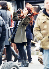 coat,olive coat,tv,belle,once upon a time show,shoes
