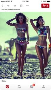 swimwear,high waisted,high waist; colors; bikinii,see through swimwear,colorful swimwear,bikini,retro bikini,halter neck,colorful bikini,hi neck halter top,hi neck,high waisted bikini