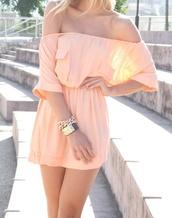 dress,summer dress,clothes,apricot,prom dress,spring summer,розовое платье,браслет цепочкой,браслет,jewels,summer,open shoulders dress,pink,nice derss,summer outfits,pink dress