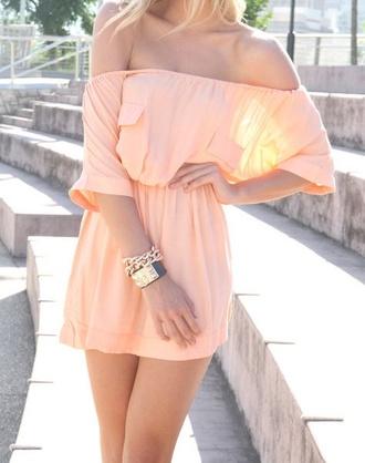 dress summer dress clothes apricot prom dress summer open shoulders dress pink nice derss summer outfits pink dress