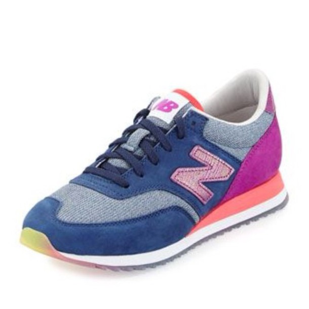 shoes sneakers navy purple pink new balance