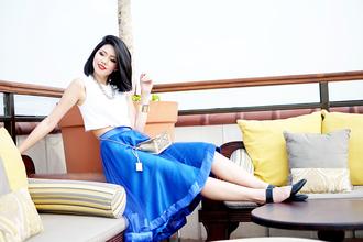 blogger bag olivia lazuardy midi skirt circle skirt blue skirt white crop tops cuff bracelet