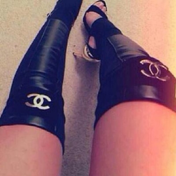 leather chanel chanel chanel boots leather leggings leather pants thigh high boots shoes