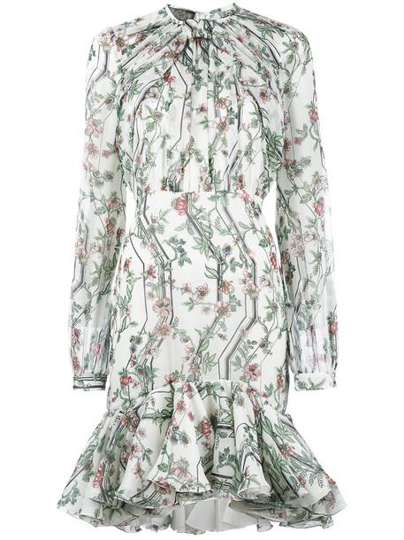 dress ruffle dress ruffle women floral white print silk