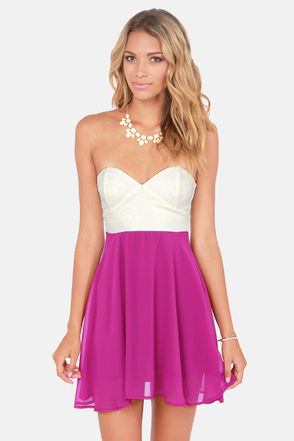 Pretty Bustier Dress - Magenta Dress - Strapless Dress - $39.00