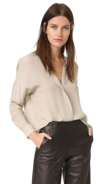 Vince Double Front Blouse - Taupe