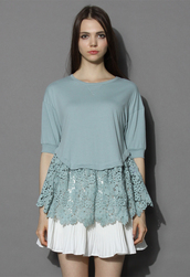 top,chicwish,lace for love dolly top in teal,lace top,dolly top,summer top,chicwish.com