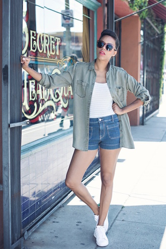 style me grasie blogger shorts sunglasses shoes make-up