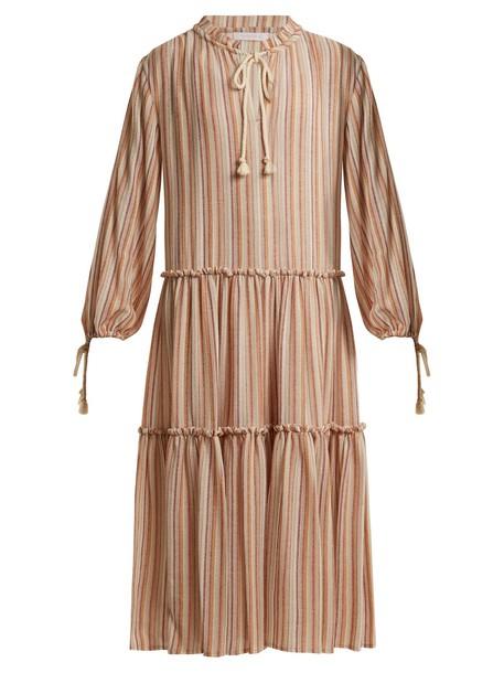 SEE BY CHLOÉ Tiered striped gauze dress in beige / beige