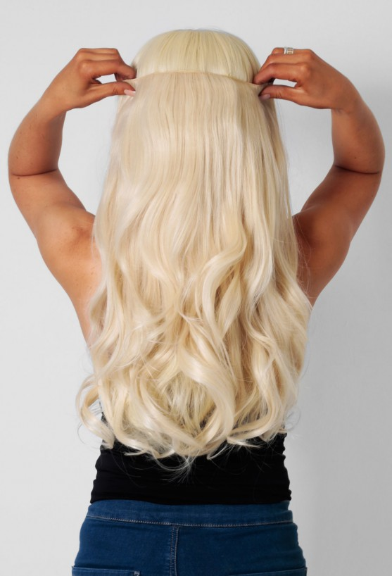 61421 Blonde Curly Synthetic Instant Full Head Clip In Hair