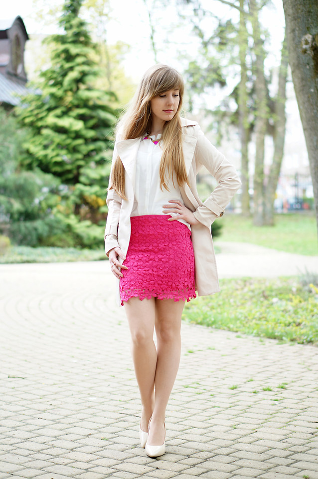 Hot Sale Pink Lace Crochet Bud Skirt$25