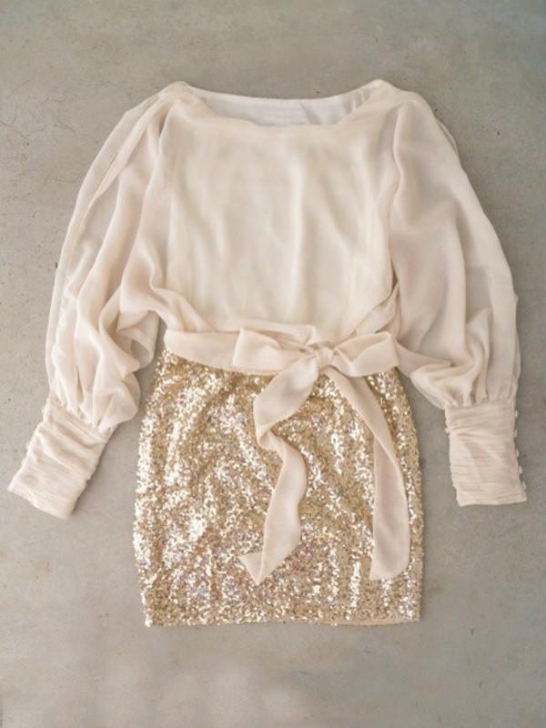 dress ivory dress glitter dress glitter classy gold