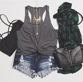 top,shirt,crop,black,denim,bag,stripes,striped top,striped shirt,white shirt,white,striped crop top,cropped,crop tops,black bralette,bralette,strappy bralet,denim shorts,ripped,ripped shorts,bralette tops,black crop top,green,flannel,flannel shirt,tank top,black tank top,white top,white tank top,cut off shorts,cut offs,short,stripy,black top,black shirt,black and white,black and white striped,blue jean shorts,shorts,High waisted shorts