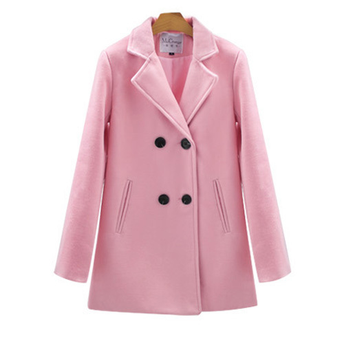 Breasted solid color woolen coat
