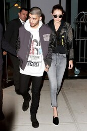 jacket,biker jacket,beaded,gigi hadid,spring jacket,spring outfits,flats,black leather jacket,zayn malik,menswear,black shoes
