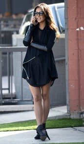 jacket,dress,shay mitchell,all black everything,black