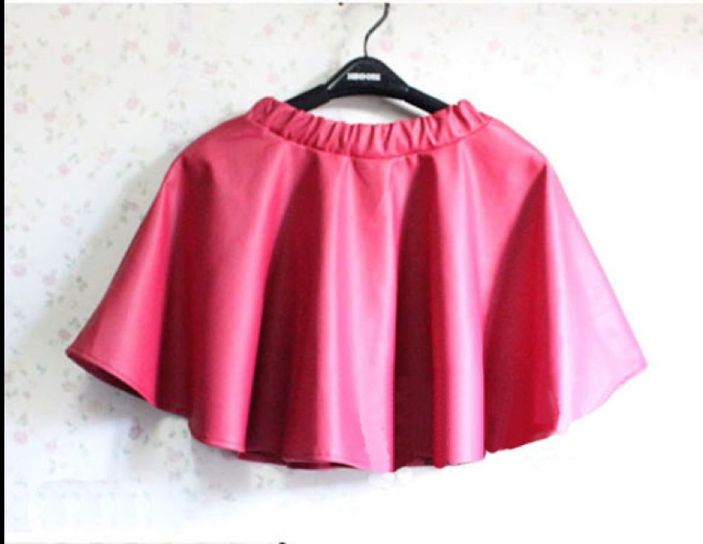 Light Red Pink Faux Leather Elastic Waist Mini Skater Skirt 6/8/10 | eBay