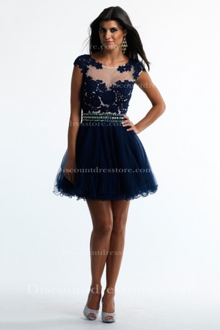 Cheap Tulle A-line Beading/Sequins Scoop Prom Dress