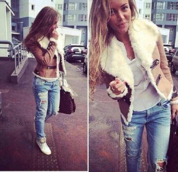 Jeans Ripped Jeans Jacket Beige Winter Outfits Bag T Shirt