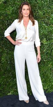 pants,blouse,top,white,cindy crawford,wide-leg pants,celebrity,shirt