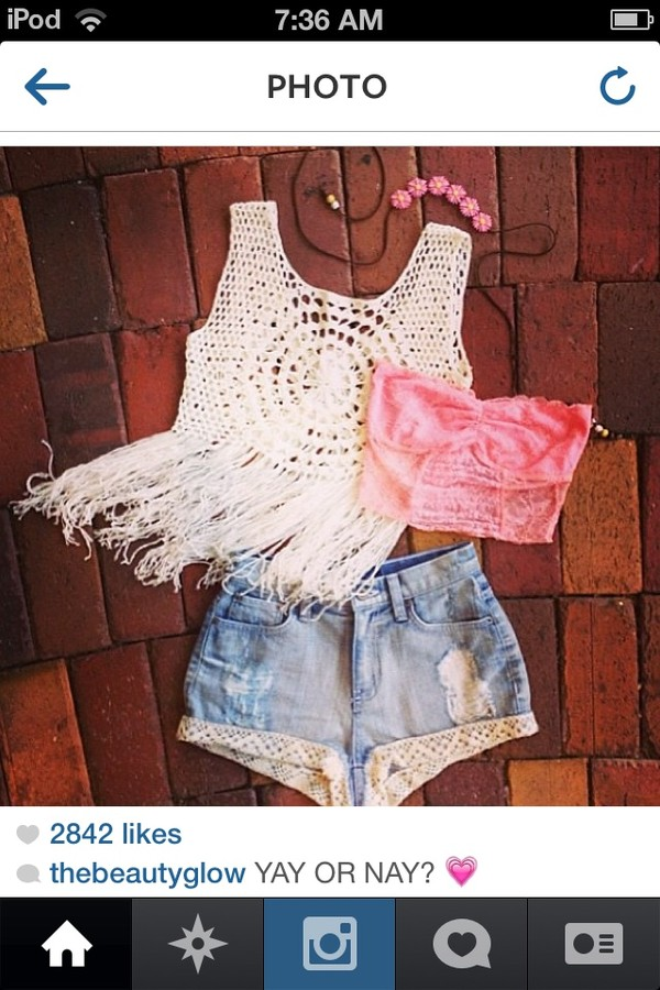 shirt crochet crop tops boho eyelet tank top shorts underwear