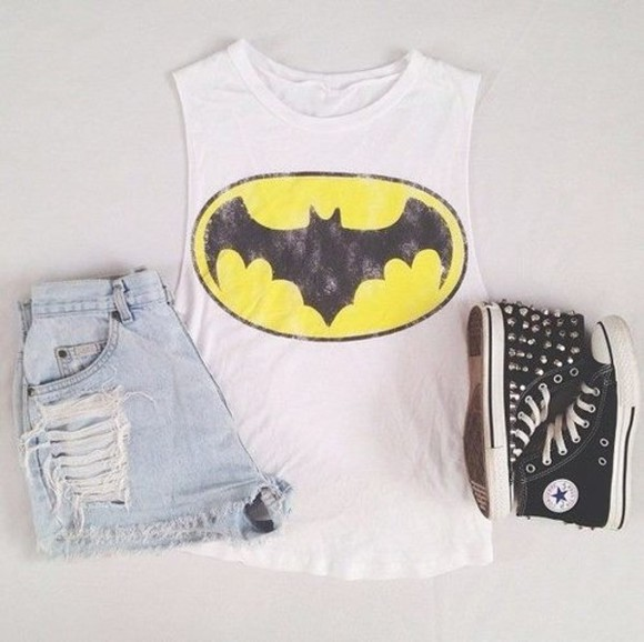 shorts logo batman tank top batman shirt batman logo summer outfits spiky ripped shorts denim denim shorts shoes shirt batman girl white black high tops top t-shirt cool swag converse super hero yellow tank top spiked shoes muscle tank linne
