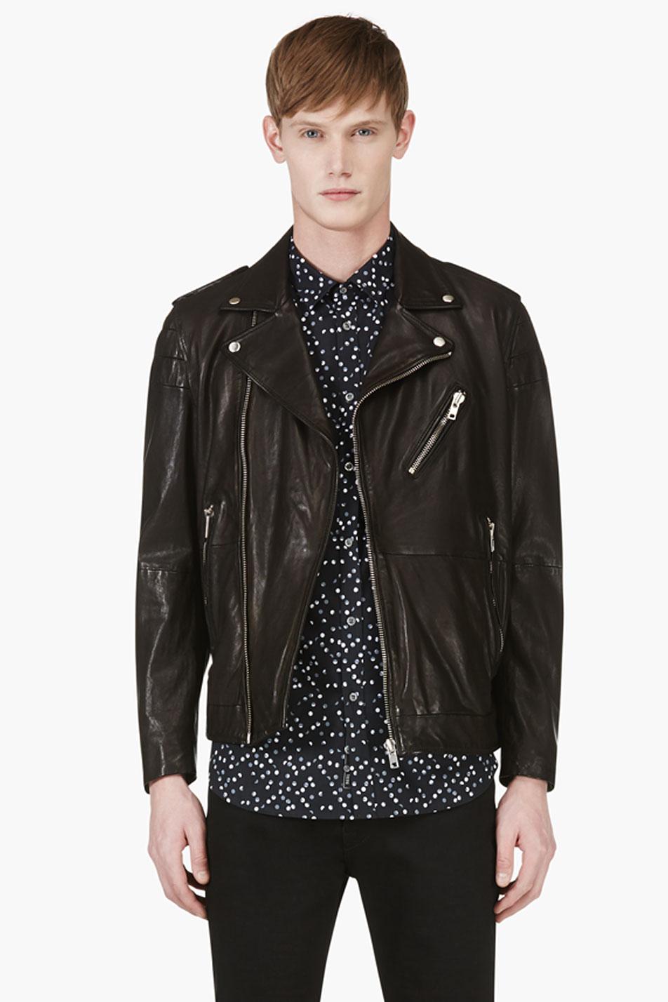 Diesel Black Grained Leather Biker Jacket