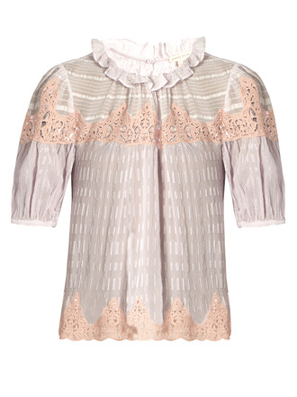 blouse lace silk light purple top