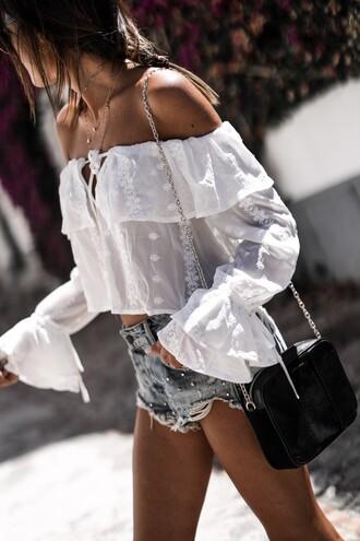 top tumblr off the shoulder off the shoulder top long sleeves bell sleeves see through bag black bag shorts
