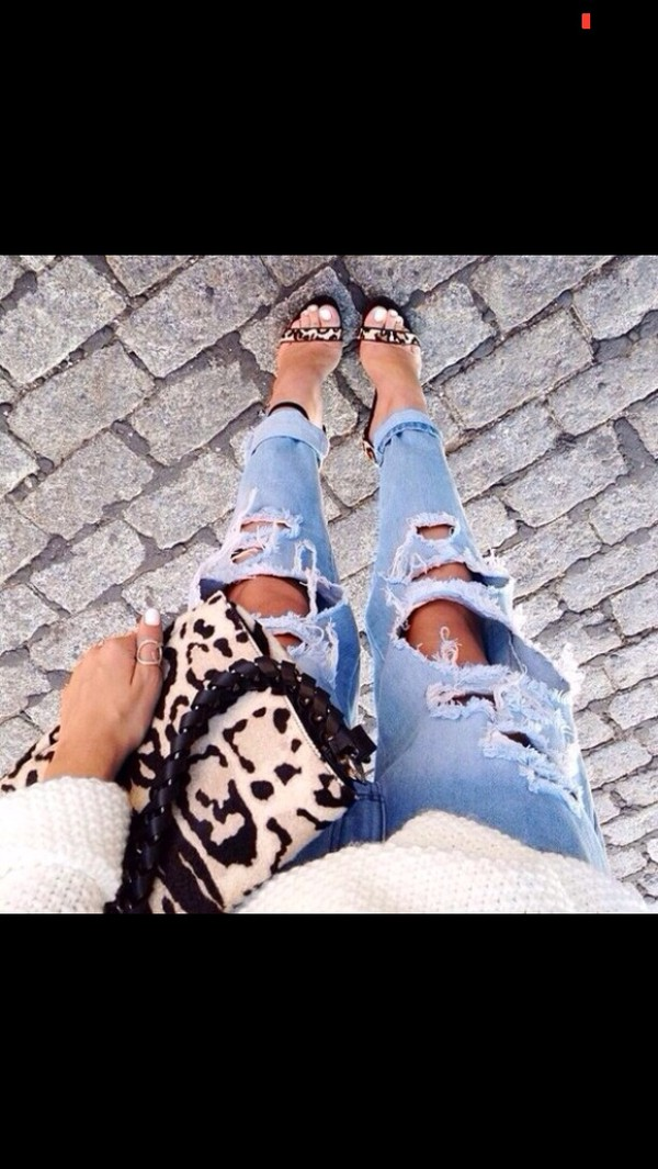 jeans light blue leapord print bag heels shoes high heels