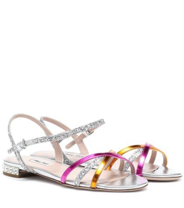 Miu Miu Leather-trimmed sandals in metallic
