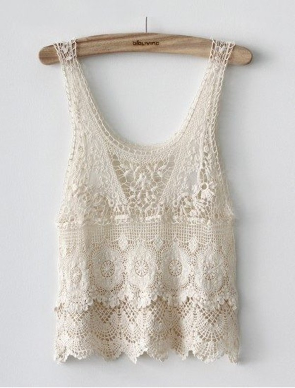 Crochet Tank Top : tank top white tank top white lace top crop tops shirt