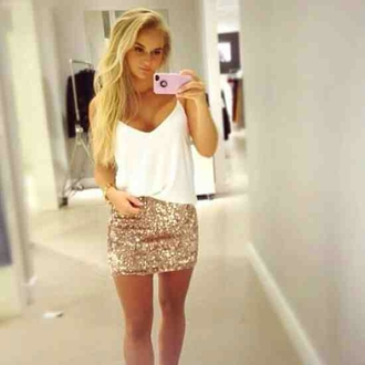 skirt gold sparkle mini dress sequins iphone top white tunic outfit weheartit shirt too girl blouse tank skirt white gold glitter