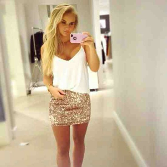 shirt skirt gold sparkles sequins iphone white tunic weheartit too girl sparkle mini top outfit blouse tank skirt white gold glitter