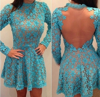 dress lace open back cut out teal blue cute short long sleeve dress blue dress lace dress