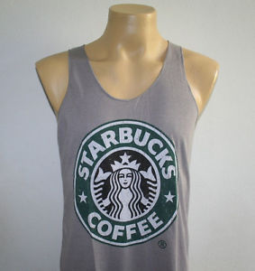 Starbucks Coffee Women Men Tank Top Shirt Gray M