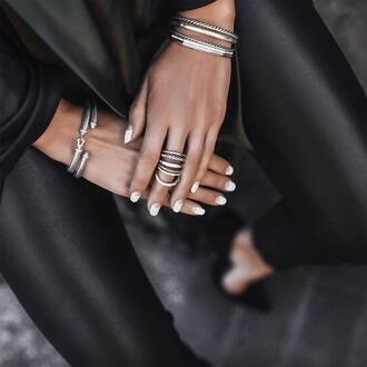 jewels tumblr silver silver jewelry silver bracelet silver ring ring knuckle ring nail polish nail art nails white nails