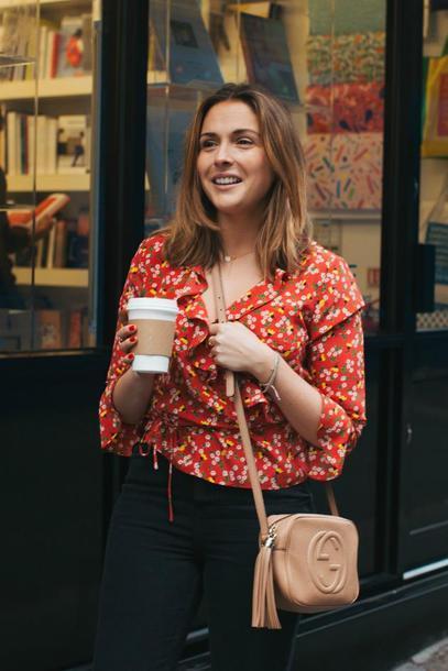 a106a63fa46 blogger, blouse, top, jeans, bag, crossbody bag, gucci bag, spring ...